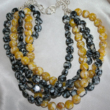 Black and Yellow Shell Beach Statement Necklace, Chunky Beach Wedding Jewelry, Mother of Pearl Shell Mosaic Bead Statement Necklace