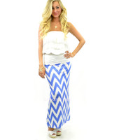 Lovina Beach Blue Chevron Maxi Skirt