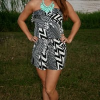 Crazy & Wild Strapless Graphic Chevron Print Romper / Black & White Print