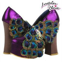 Purple Peacock Thick Heel Hidden Platform Pumps