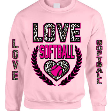 Love Softball Leopard womens Sweatshirts