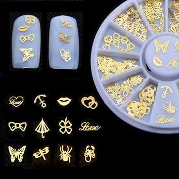 One Box Gold Various Shape Nail Art Decoration