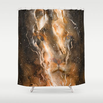 Fire in the Lion Shower Curtain by creativeaxle