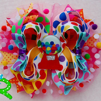 Gumball  hair bow, Candy  boutique bow ,layered bow , stacked bow