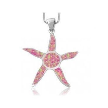 925 Sterling Silver Pink Inlay Fire Opal Starfish Sun Charm Pendant
