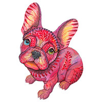 Raspberry Frenchie french bulldog animal art print, size 8x10, LIMITED EDITION 22/100 (No. 55)
