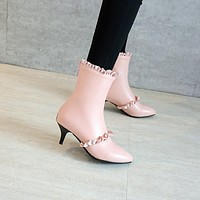 Pointed Toe Lotus Edge Stiletto Heel Short Boots Party Shoes 7417