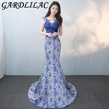 Gardlilac Sleeveless Blue Long Prom Dress With Applique V-Neck Sexy Prom Party Dress Backless Court Train Evening Gowns