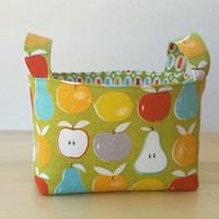 Small Fabric Storage Bin Basket - Farmer's Market Apples