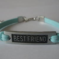 Best Friend Bracelet / Friendship Bracelet, for Friends / Mint Leather Rope