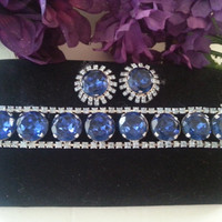 Blue Rhinestone Bracelet Earring Set, Vintage Demi Parure, Headlight Stones, 1950s 1960s Vintage Jewelry, Old Hollywood Glam