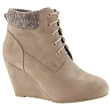 Fremont Lace Up Wedge Ankle Booties - Taupe RESTOCKED!