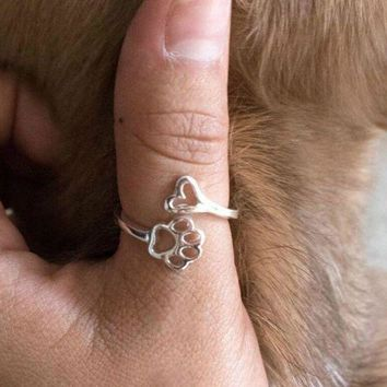 ac spbest susenstone 2018 Beauty Hollow Paw Print Love Heart Adjustable Ring Animal Lovely Pet Ring Hollow Dog Paw Footprints Jewelry Ring