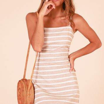 Keep Me Near dress in tan stripe Produced By SHOWPO