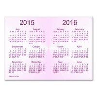 2015-2016 Calendar by Janz Violet Business Card