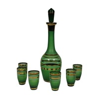 Pre-owned 1960's Green Glass Bohemian Decanter Set