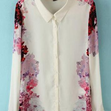 Both Sides Of Floral Chiffon Shirt S010121