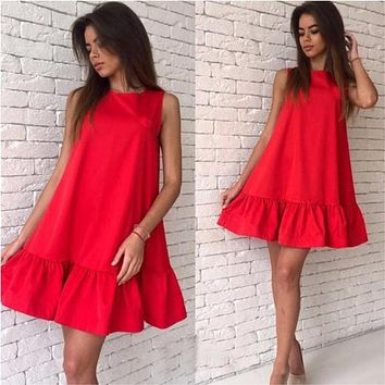 Summer Women Dress A-line Beach Casual Dress Solid Sleeveless O-neck Loose Women Dress Above Knee Mini Ladies Dresses 2018 DLD57