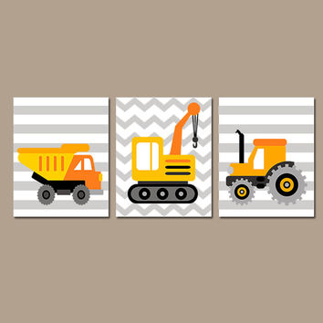 CONSTRUCTION Wall Art Canvas or Prints Boy Wall Art Gray Dump Truck Tractor Set of 3 Boy Bedroom You Choose Colors