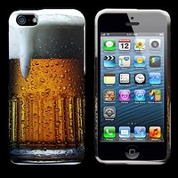 iPhone 5s Case, CoverON® [Snap Fit Series] Slim Rubberized Hard Plastic Design Phone Cover Case for Apple iPhone 5 / 5s - Beer Mug