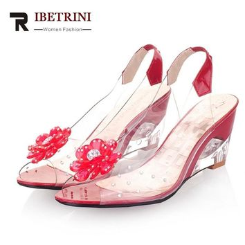 RIBETRINI 2016 New Arrival Bohemia Flower Summer Peep Toe Jelly Shoes Crystal Wedges High Heel Women Sandals / Big Size 34-43