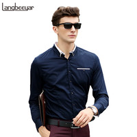 2016 Fashion Men Clothes Square Collar Casual Men Shirts Long Sleeve Slim Fit Man Shirts High Quality Cotton Mens Dress Shirts