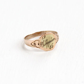 Vintage Philippines 1945 Ring - 1940s Military Size 3 Gold Tone Soldier Memorabilia Philippines Trench Art Jewelry