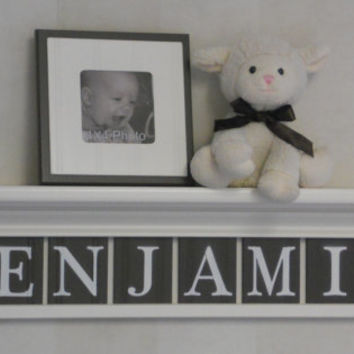 "Personalized Kids Wall Decor Shelves - Baby Boy Nursery Custom for BENJAMIN on 30"" Linen White Shelf with 8 Brown Letter Tiles"