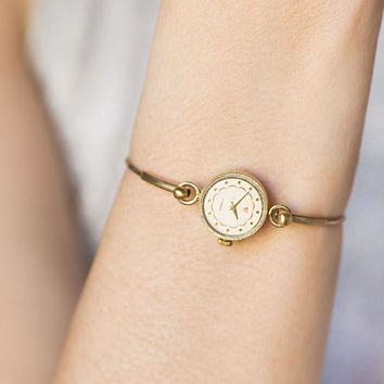 Women's Watch Ring Bracelet, Women's Wristwatch Round, Gold Plated Watch Seagull, Tiny Cocktail Watch, Delicate Womens Watch Bracelet Gift