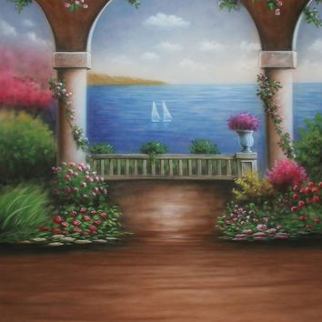 Printed Muslin Scenic Floral Home Archway Ocean Boat View Backdrop - 109-11
