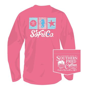 Ocean Avenue Long Sleeve Tee in Pink Jam by Southern Fried Cotton