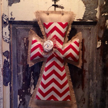 Red chevron medium burlap cross hanger