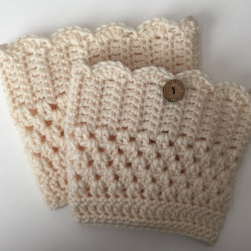 Handmade Adorable Crocheted Scallop Edge Boots Cuffs - Any Size - Any Color