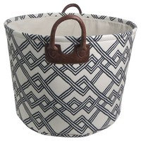 """Threshold 16"""" EVA Basket 1-3C Printed Canvas with Piped Handles"""