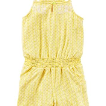 Embroidered Smocked Waist Romper