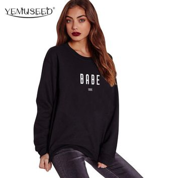 H1020 2016 New Autumn BABE 199X Hip Hop Crewneck Sweatshirts Women Hipster Sweats Tops Casual Hoodies