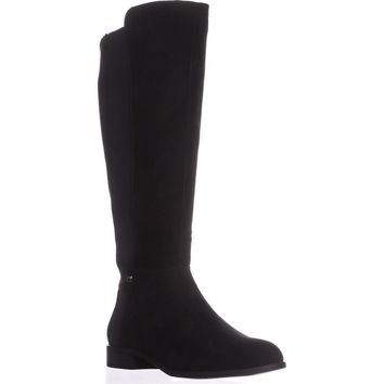 A35 Pippaa Wide Calf Knee-High Boots, Black Micro, 10 US