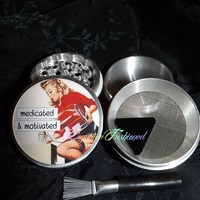 Pin Up Girl Retro Medicated and Motivated Herb Spice Grinder Aluminum from Cognitive Fashioned