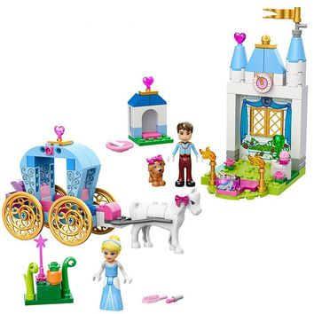2017 Girl's Best Toy Gift! Fairy Tale Cinderella's Pumpkin Carriage Model Building Bricks Kit Dream Princess Castle Blocks Toy