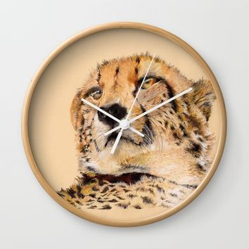 Season of the Cheetah Wall Clock by michael jon