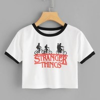 Stranger things print crop top