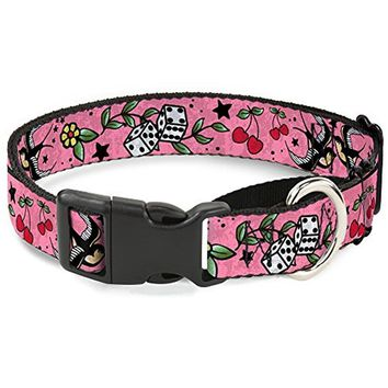 """Buckle-Down """"Lucky C U Pink"""" Martingale Dog Collar"""