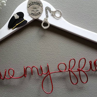 Police Officer Custom Wire Wedding Hanger - Love my officer -  Great wedding and engagement gift - Wedding Dress Hanger