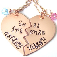 Hand Stamped Jewelry, Best Friends Necklace, Handstamped Jewelry, 2 Necklaces, Birthstones, Little Girls Necklace