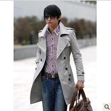 Xxl Plus Size Black/Khaki/Grey 2013 Spring Autumn Men'S Windbreaker Casual Long Coat Male Slim Double-Breasted Trench Coat D1428