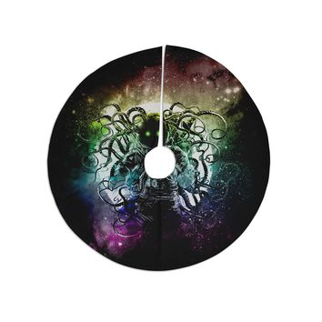 """Frederic Levy-Hadida """"Terror From Deep Space"""" Teal Purple Tree Skirt"""