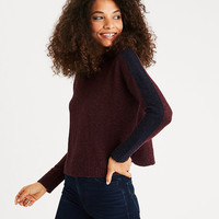 AEO Colorblocked Mock Neck Sweater, Burgundy