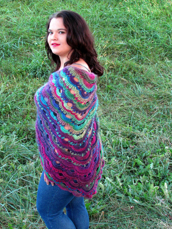Scalloped Triangle Shawl Crochet Pattern : Vibrant Crochet Shawl German Scalloped from ...