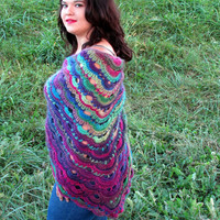 Vibrant Crochet Shawl German Scalloped Triangle Shawl, Bohemian, Lightweight, Lace Shawl, Hippie, Stevie Nicks Shawl