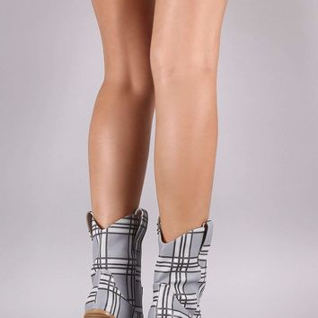 Plaid Pointy Toe Chunky Heeled Cowgirl Boots